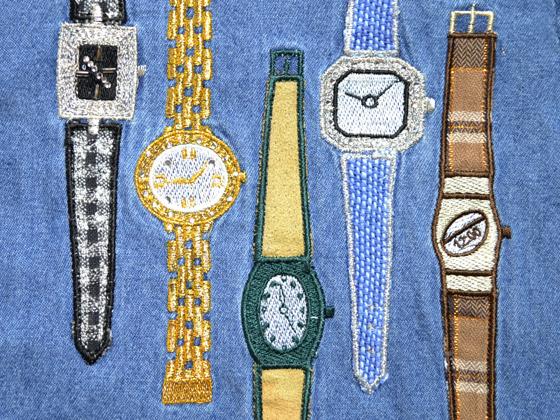 時計の刺繍